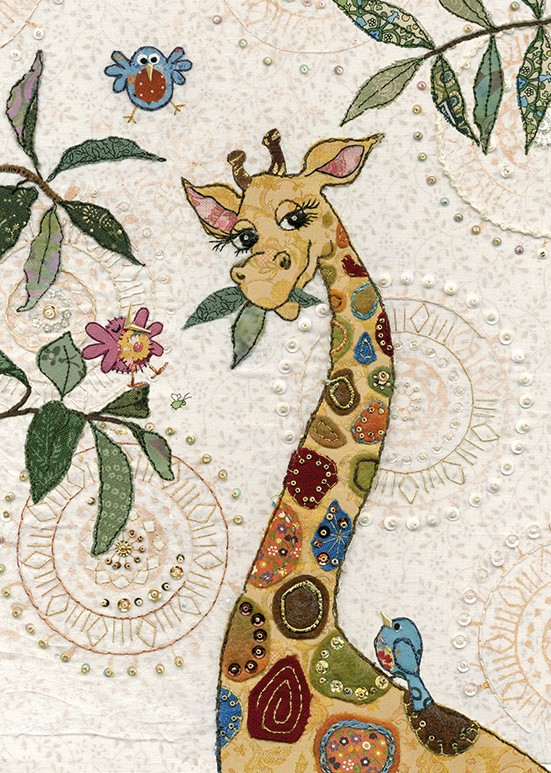 bug art A032 Giraffe greeting card