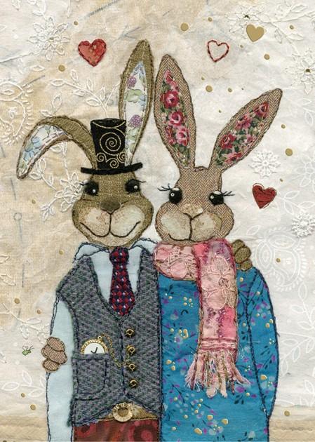 bug art A033 Rabbit Couple greeting card