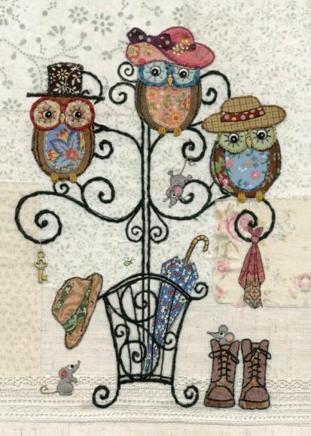 bug art A036 Owl Hatstand greeting card