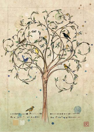 Bug Art D076 Bird Tree greetings card