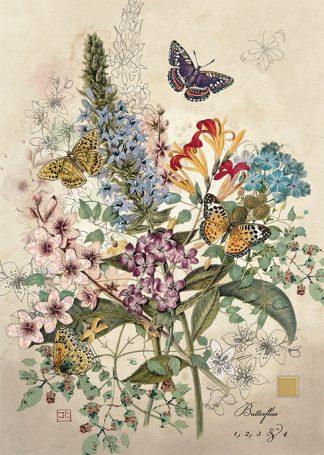 Bug Art D162 Botannical Butterflies greetings card