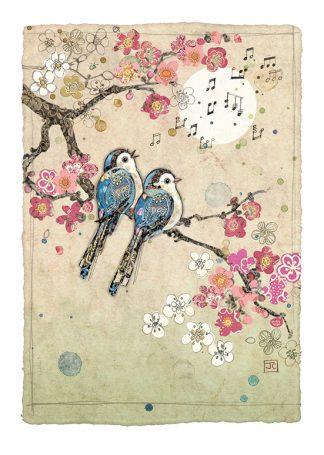 Bug Art D166 Blue Song Birds greetings card
