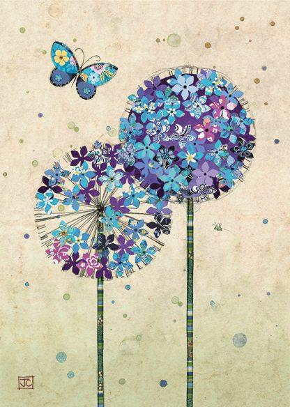 D173 Butterfly Allium bug art greeting card