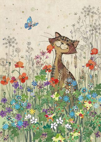 D174 Cat Meadow bug art greeting card