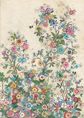 D175 Bee Flowers bug art greeting card