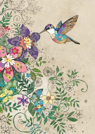 D177 Tropical Hummingbird bug art greeting card