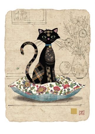 D178 Cat Cushion bug art greeting card