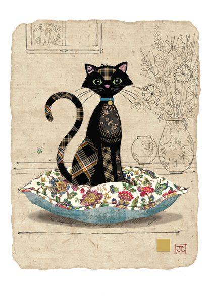 D178 Cat Cushion bug art greeting card