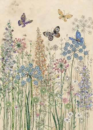 D182 Butterfly Grasses bug art greeting card