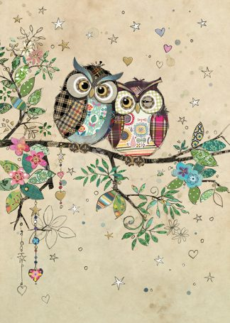 D183 Owl Couple bug art greeting card
