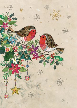 DC026 Two Robins 5-pack bug art greeting card