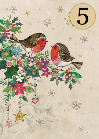 DCC026 Two Robins 5-pack bug art greeting card