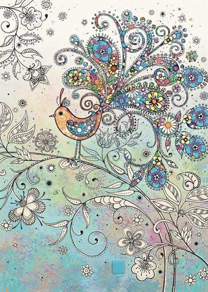 bug art E032 Doodle Bird greeting card