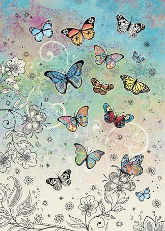 bug art E034 Colourful Butterflies greeting card
