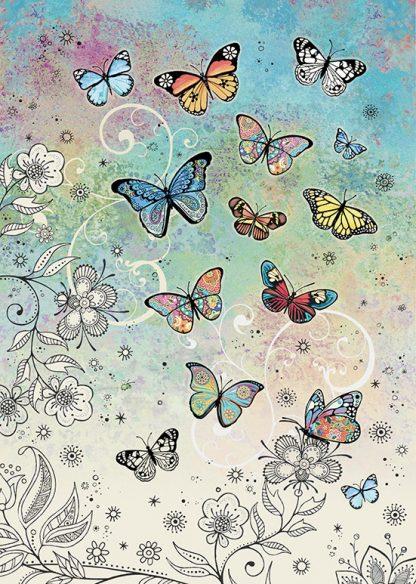 bug art E034 Colourful Butterflies greeting card