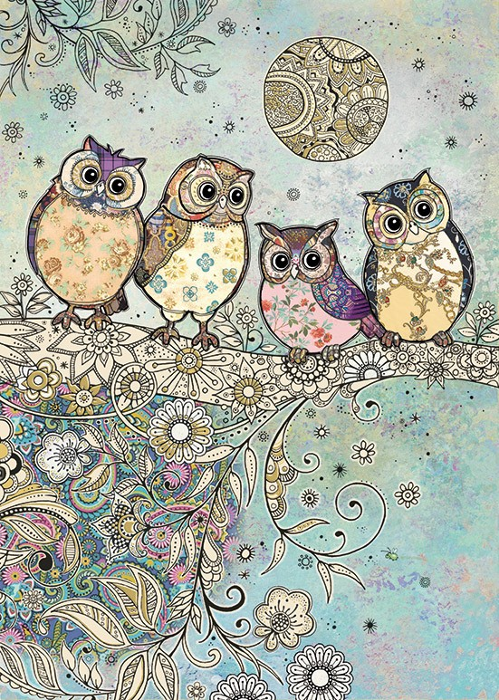 bug art E035 Four Owls greeting card