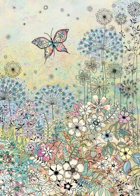 bug art E036 Meadow Butterflies greeting card