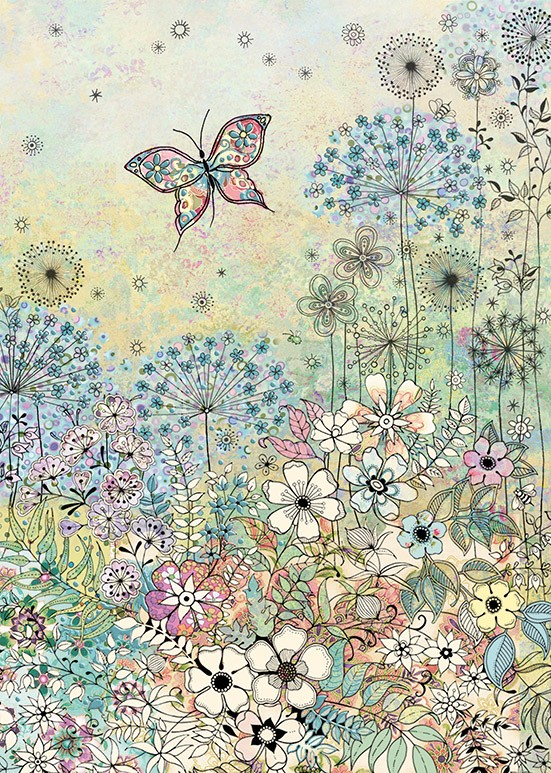 bug art E036 Meadow Butterflies greeting card