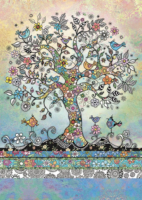 bug art E037 Tree of Birds greeting card