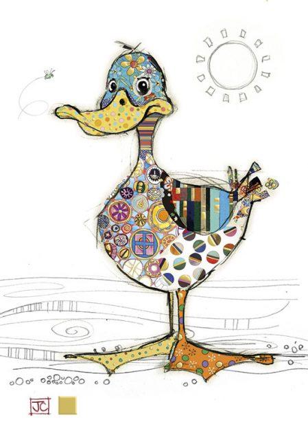 G001 Dotty Duck bug art greeting card
