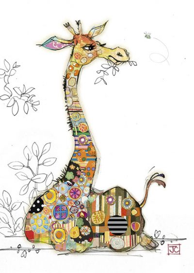 G002 Gerry Giraffe bug art greeting card