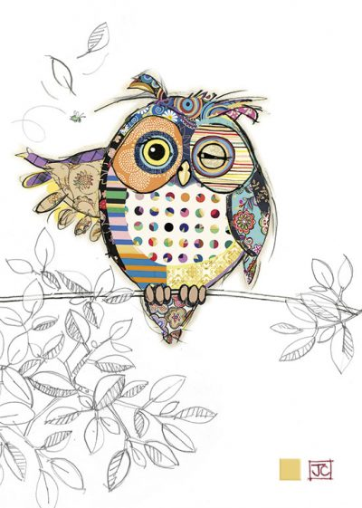 G004 Ollie Owl bug art greeting card
