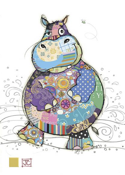 G005 Harry Hippo bug art greeting card