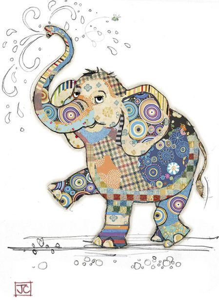 G010 Eddie Elephant bug art greeting card