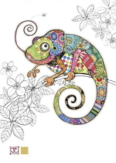 G011 Cosmo Chameleon bug art greeting card