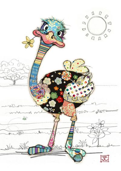G012 Ozzie Ostrich bug art greeting card