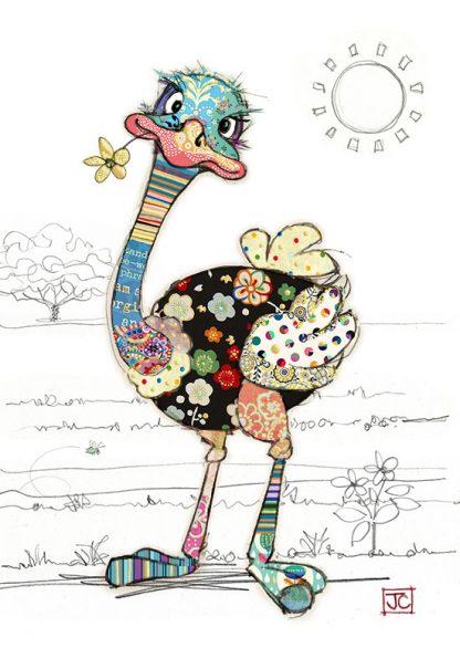 G012 Ozzie Ostrich bug art greeting card