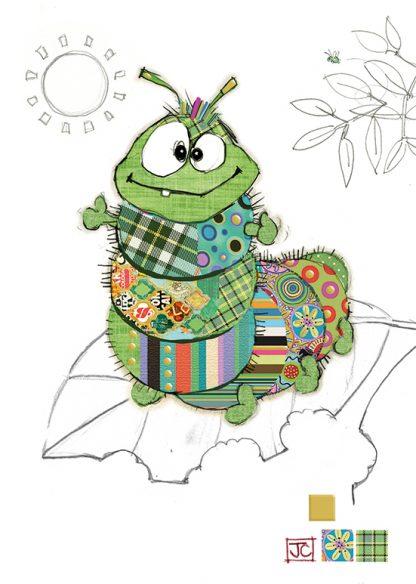 G017 Cedric Caterpillar bug art greeting card