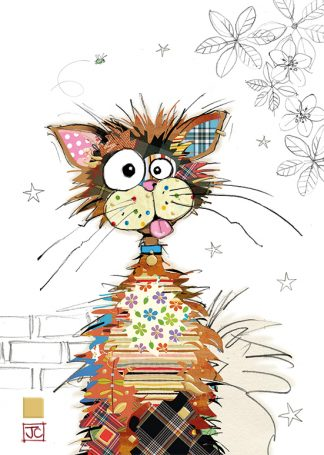 G021 Ziggy Cat bug art greeting card