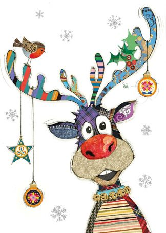 GC001 Rudolph Baubles bug art greeting card