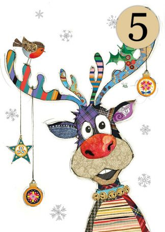 GC001 Rudolph Baubles 5-pack bug art greeting card