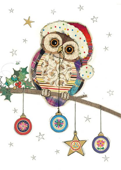 GC003 Owl Baubles bug art greeting card