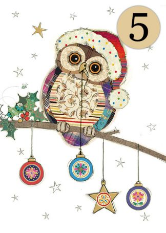 GC003 Owl Baubles 5-pack bug art greeting card