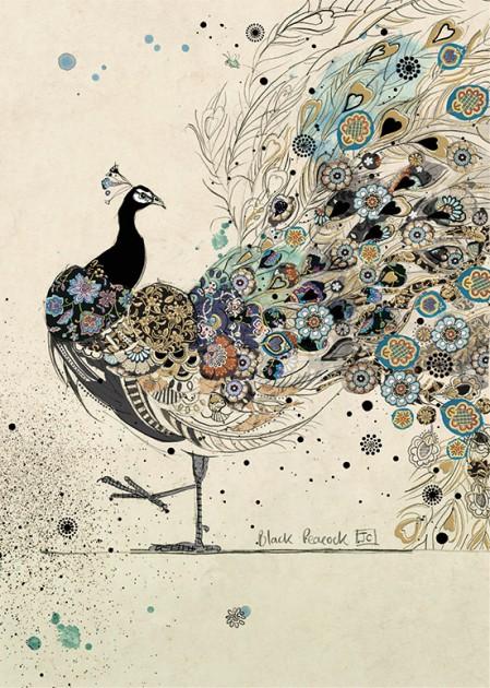bug art H018 Black Peacock greeting card