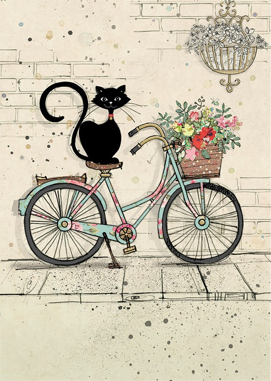 bug art H019 Bike Cat greeting cards