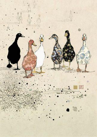 bug art H022 Six Ducks greeting cards