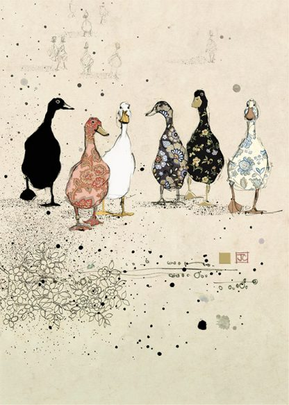 bug art H022 Six Ducks greeting cards