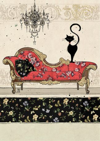 bug art H023 Red Chaise Cat greeting card