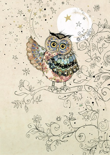 bug art H024 Magical Owl greeting card