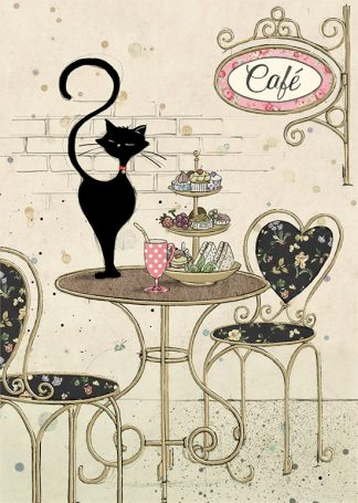 bug art H025 Cafe Cat greeting card