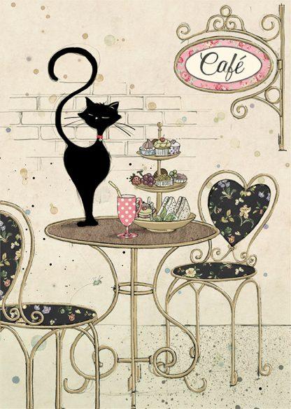 bug art H025 Cafe Cat greeting card