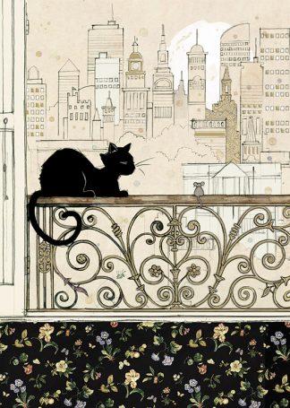 bug art H026 City Cat greeting card