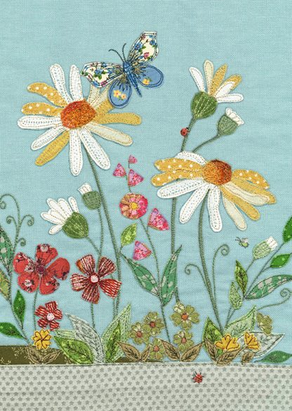 J004 Daisies bug art greeting card
