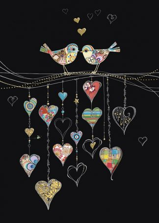 bug art M140 Bird Hearts