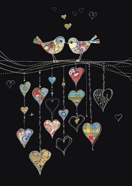 bug art M140 Bird Hearts