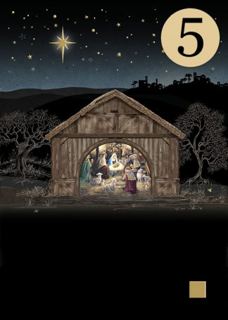 MCC048 Nativity Stable 5-pack bug art greeting card